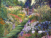Floral Paintings - Lush Floral Pathway by David Lloyd Glover