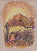 Old Barn Drawing Pastels Prints - MacGregors Barn pstl Print by Carol Wisniewski
