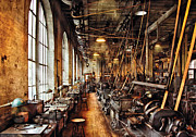 Steampunk Posters - Machinist - Machine Shop Circa 1900s Poster by Mike Savad