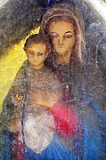 Rosary Prints - Madonna and Child Statue Pima Arizona Cemetery 2010 Print by John Hanou