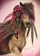 Feathers Pastels Prints - Magenta Warrior  Print by Sheena Pike