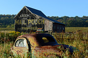 Ford Coupe Prints - Mail Pouch Barn and Old Cars Print by Paul Ward