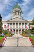Flag Of Usa Prints - Maine State House V Print by Clarence Holmes