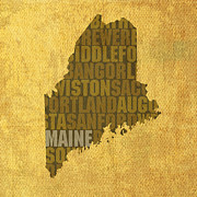 Maine Mixed Media Posters - Maine Word Art State Map on Canvas Poster by Design Turnpike