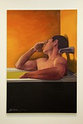 Unwind Prints - Male Unwinding In The Bath Print by Al Bourassa