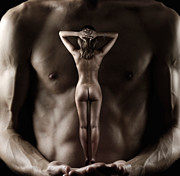 Strength Metal Prints - Man Holding a Naked Fitness Woman in His Hands Metal Print by Oleksiy Maksymenko