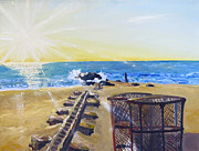 Atlantic Beaches Painting Prints - Manasquan Sunrise at Sea Watch Beach Print by Melinda Saminski