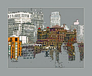 Cities Digital Art Metal Prints - Manhattan Cluster 2 Metal Print by Linda  Parker