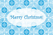 Www Greeting Cards Prints - Many Moons - Blue Christmas Card Print by E B Schmidt