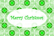 Www Greeting Cards Prints - Many Moons - Green Christmas Card Print by E B Schmidt