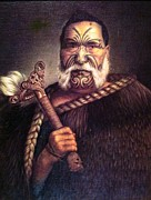 Maori Paintings - Maori Chief Akimoru Komatsu by Ricky Nathaniel