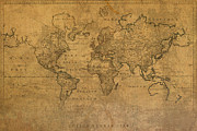 Stained Mixed Media Metal Prints - Map of the World in 1784 Latin Text on Worn Stained Vintage Parchment Metal Print by Design Turnpike