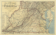 Washington Dc Drawings - Map of Virginia Civil War Era - 1863 by Historic Maps
