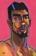 Expressionist Framed Prints - Marco with Gold Chain Framed Print by Douglas Simonson