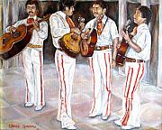 Guitarists Paintings - Mariachi  Musicians by Carole Spandau