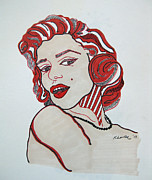 Norma Jean Drawings - Marilyn Monroe Pin Up Original by Karen Larter