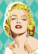 Business Digital Art Framed Prints - Marilyn Monroe Pop Art Framed Print by Jim Zahniser