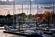 Yacht Mixed Media Metal Prints - Marina In The Fall 4 Metal Print by Todd and candice Dailey