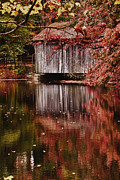 New England Village Digital Art Prints - Massachusetts covered bridge in Sturbridge Village Print by Jeff Folger