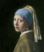 Girl With A Pearl Earring Paintings - Master Copy of Vermeer Girl With A Pearl Earring by Terry Guyer