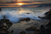 Maui Photo Posters - Maui Sunset Spray Poster by Mike  Dawson