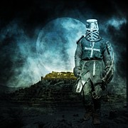 Shield Digital Art Posters - Medieval crusader Poster by Jaroslaw Grudzinski