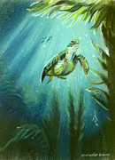 Sea Turtles Pastels - Meditation by Michaeline McDonald