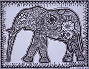 Gifts Drawings Originals - Mehndi Hnna style elephant abstract drawing by Jennifer Vazquez