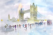 Foggy Day Painting Posters - Memories Of London Bridge England Poster by John YATO