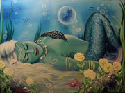 Sleeping Mermaid Posters - Mermaid in seabed Poster by Lefteris Skaliotis