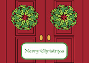 Wreaths Paintings - Merry Christmas Doors by Blynn Pippen