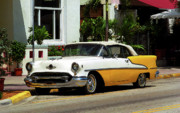 City Photography Mixed Media - Miami Beach Classic Car with Watercolor Effect by Frank Romeo