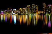 American Airlines Arena Prints - Miami Skyline II high res Print by Rene Triay Photography