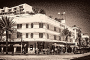 Collins Avenue Prints - Miami South Beach - Art Deco District  Print by Les Palenik