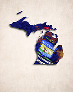 World Map Canvas Digital Art Prints - Michigan Map Art with Flag Design Print by World Art Prints And Designs