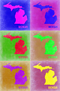 Michigan Digital Art Framed Prints - Michigan Pop Art Map 2 Framed Print by Irina  March
