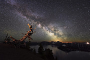 Crater Lake Twilight Framed Prints - Milkyway in Crater Lake Framed Print by Yoshiki Nakamura