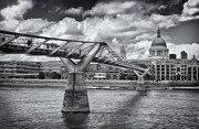 City Skylines Framed Prints Posters - Millennium Bridge - St Pauls Cathedral Poster by Kim Andelkovic