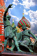 Onion Domes Photos - Minin and Pozharsky Monument in Moscow by Oleksiy Maksymenko