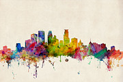 Urban Watercolor Digital Art Prints - Minneapolis Minnesota Skyline Print by Michael Tompsett