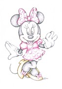 Signed Drawings Framed Prints - Minnie Mouse Disney Cartoon Colour Pencil Drawing  Framed Print by Steven Davis