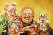 Cats Paintings - Miriams Tea Party by Shelly Wilkerson