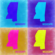Mississippi Framed Prints - Mississippi Pop Art Map 2 Framed Print by Irina  March