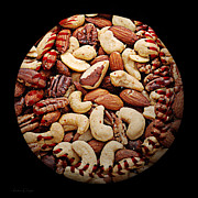 Baseball Seam Photo Metal Prints - Mixed Nuts Baseball Square Metal Print by Andee Photography
