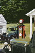 Gaspump Framed Prints - Model A Ford And Old Gas Station Illustration  Framed Print by Keith Webber Jr
