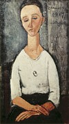 Portrait Of Woman Photo Framed Prints - Modigliani, Amedeo 1884-1920. Portrait Framed Print by Everett