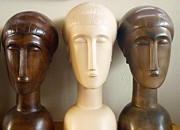 Ceramic Sculpture Ceramics Posters - Modigliani style ceramic heads Poster by Susanna Baez