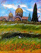 Religious Artwork Painting Originals - Monastery in Greece by Ion vincent DAnu