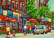 Store Fronts Paintings - Monkland Tavern Corner Old Orchard Montreal Street Scene Painting by Carole Spandau