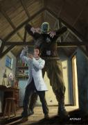 At Work Digital Art Posters - Monster In Victorian Science Laboratory Poster by Martin Davey